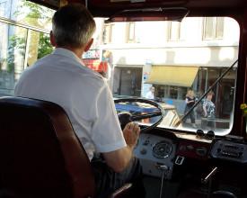 Reisen, bussjåføren.